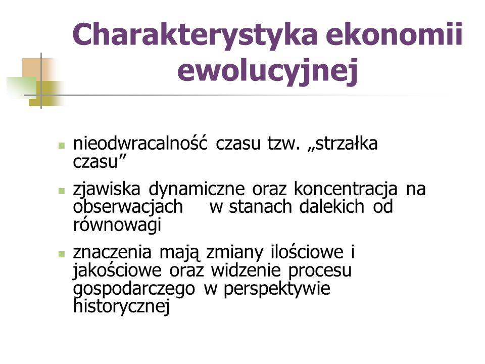 """Charakterystyka ekonomii ewolucyjnej, c.d.""""widzenie populacyjne procesu – tzn."""