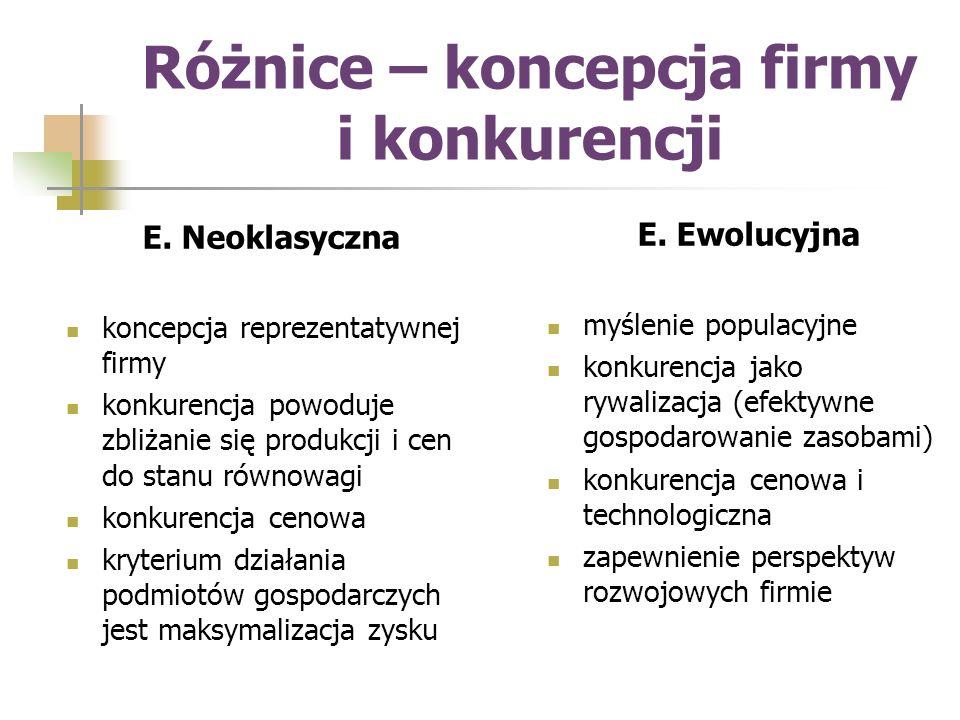 Różnice – koncepcja firmy i konkurencji E.