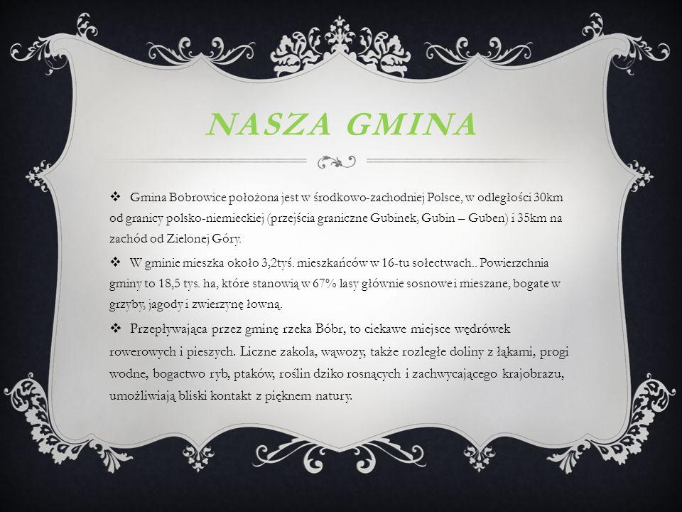 NASZA GMINA  Gmina Bobrowice położona jest w środkowo-zachodniej Polsce, w odległości 30km od granicy polsko-niemieckiej (przejścia graniczne Gubinek, Gubin – Guben) i 35km na zachód od Zielonej Góry.