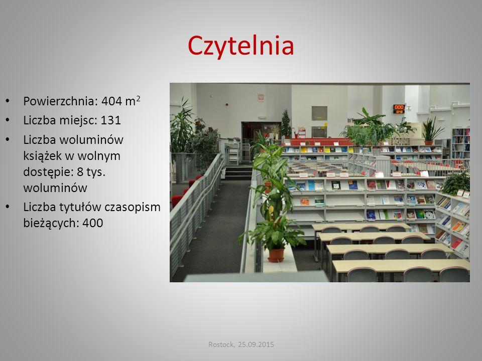 Czytelnia Powierzchnia: 404 m 2 Liczba miejsc: 131 Liczba woluminów książek w wolnym dostępie: 8 tys. woluminów Liczba tytułów czasopism bieżących: 40