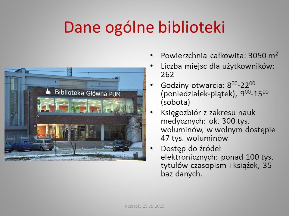Dane ogólne biblioteki Powierzchnia całkowita: 3050 m 2 Liczba miejsc dla użytkowników: 262 Godziny otwarcia: 8 00 -22 00 (poniedziałek-piątek), 9 00