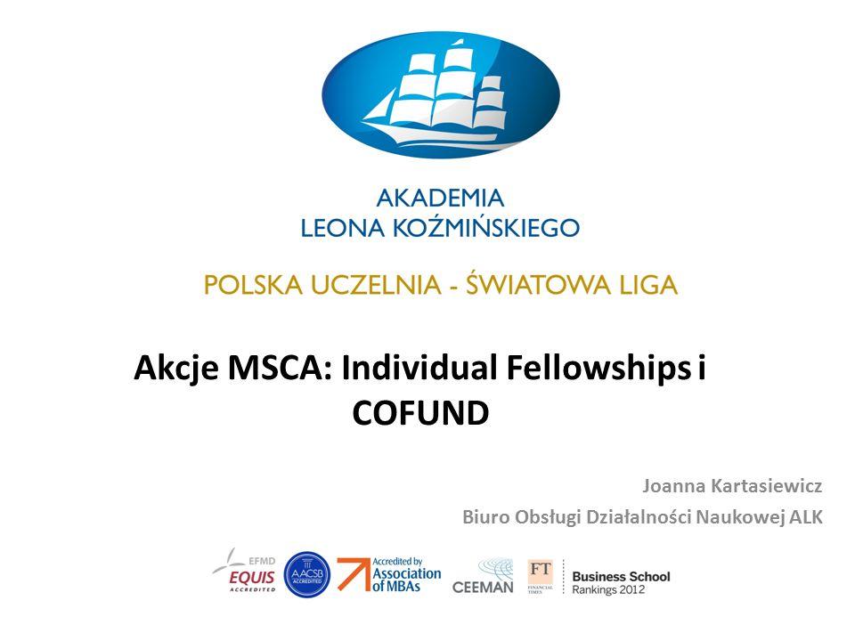 Akcje MSCA: Individual Fellowships i COFUND Joanna Kartasiewicz Biuro Obsługi Działalności Naukowej ALK