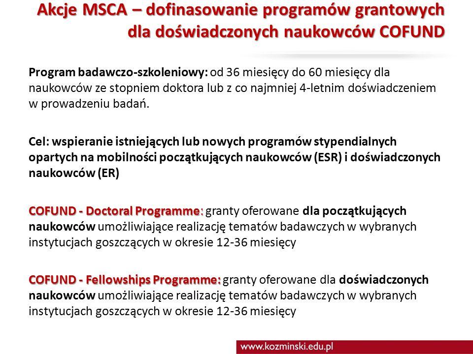 Akcje MSCA – dofinasowanie programów grantowych dla doświadczonych naukowców COFUND Program badawczo-szkoleniowy: od 36 miesięcy do 60 miesięcy dla naukowców ze stopniem doktora lub z co najmniej 4-letnim doświadczeniem w prowadzeniu badań.