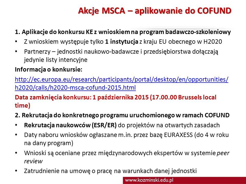 Akcje MSCA – aplikowanie do COFUND 1.