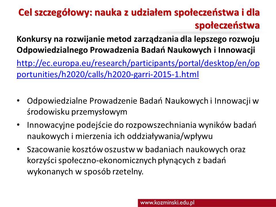 Cel szczegółowy: nauka z udziałem społeczeństwa i dla społeczeństwa Konkursy na rozwijanie metod zarządzania dla lepszego rozwoju Odpowiedzialnego Prowadzenia Badań Naukowych i Innowacji http://ec.europa.eu/research/participants/portal/desktop/en/op portunities/h2020/calls/h2020-garri-2015-1.html Odpowiedzialne Prowadzenie Badań Naukowych i Innowacji w środowisku przemysłowym Innowacyjne podejście do rozpowszechniania wyników badań naukowych i mierzenia ich oddziaływania/wpływu Szacowanie kosztów oszustw w badaniach naukowych oraz korzyści społeczno-ekonomicznych płynących z badań wykonanych w sposób rzetelny.