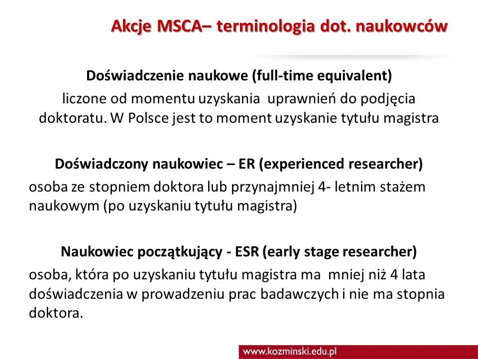 Akcje MSCA– terminologia dot.
