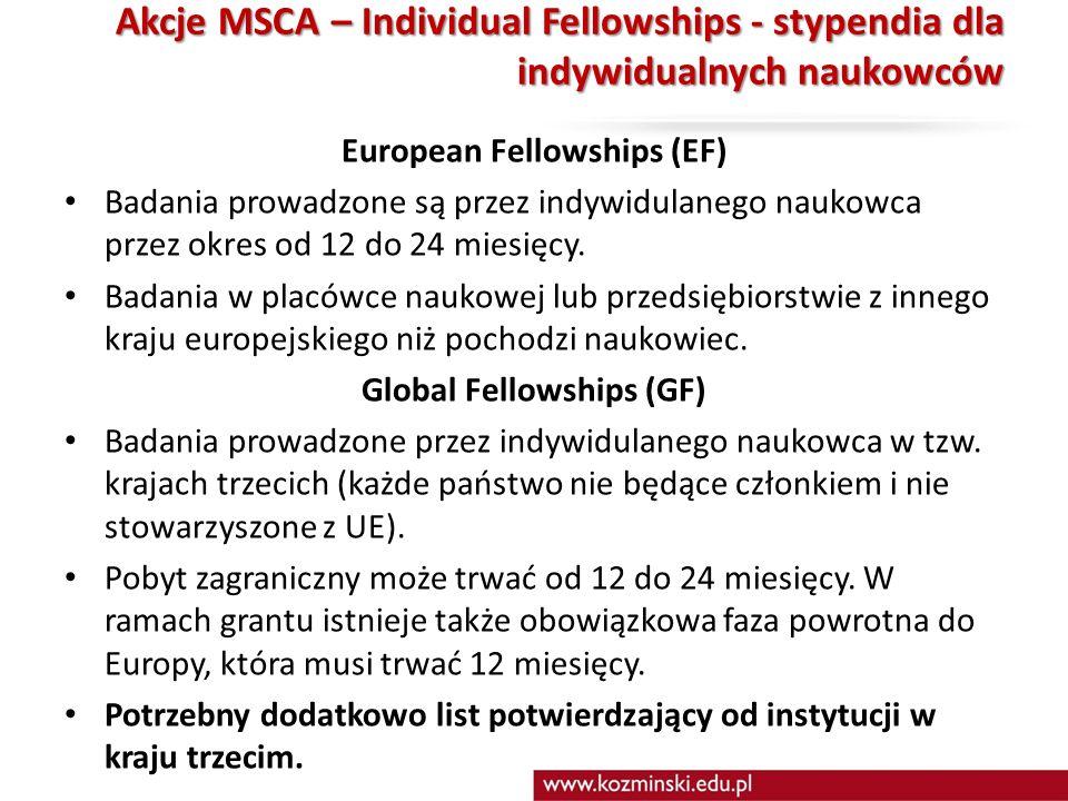 Akcje MSCA – Individual Fellowships - stypendia dla indywidualnych naukowców Akcje MSCA – Individual Fellowships - stypendia dla indywidualnych naukowców European Fellowships (EF) Badania prowadzone są przez indywidulanego naukowca przez okres od 12 do 24 miesięcy.