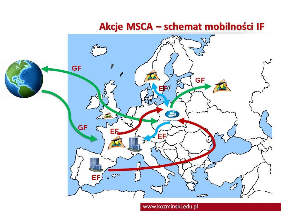 Akcje MSCA – schemat mobilności IF GF EF GF EF