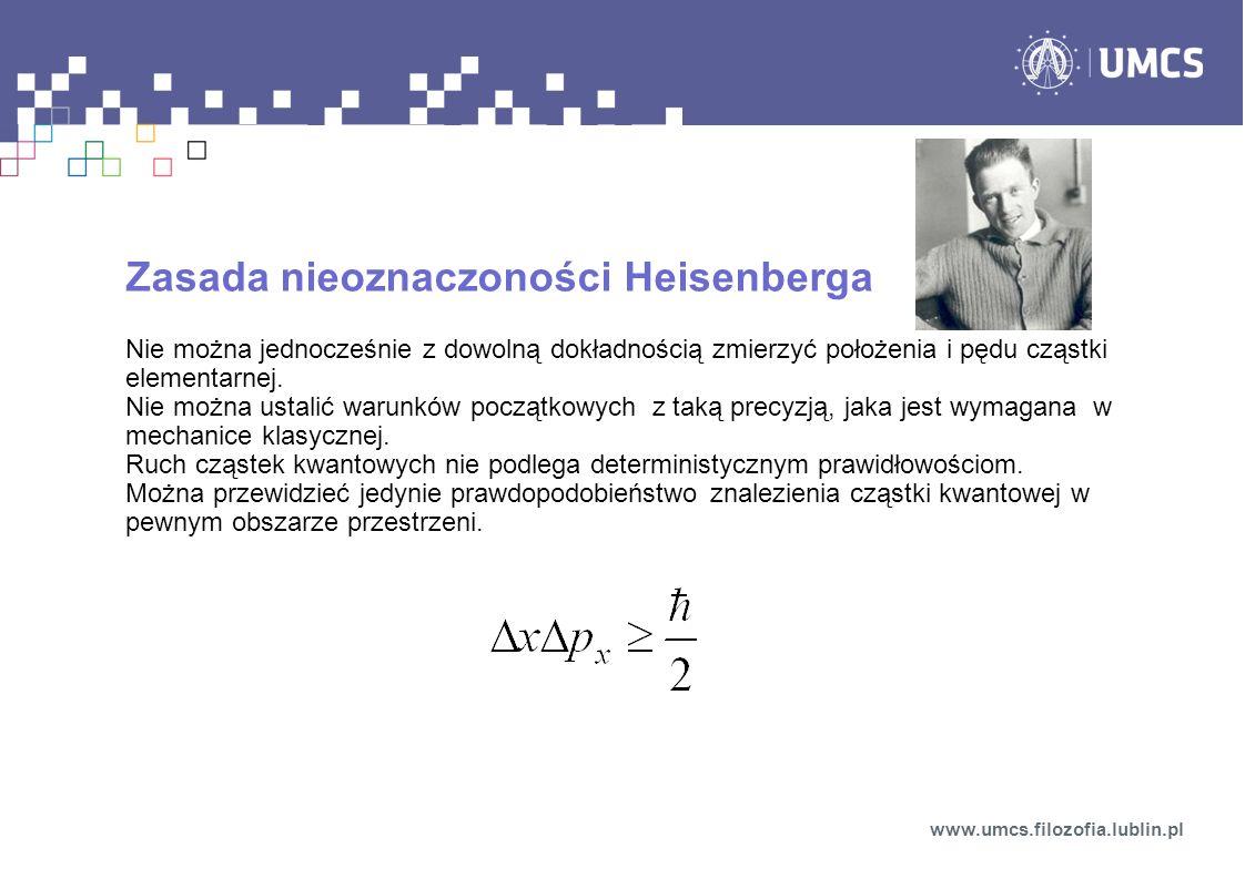 Zasada nieoznaczoności Heisenberga Nie można jednocześnie z dowolną dokładnością zmierzyć położenia i pędu cząstki elementarnej.
