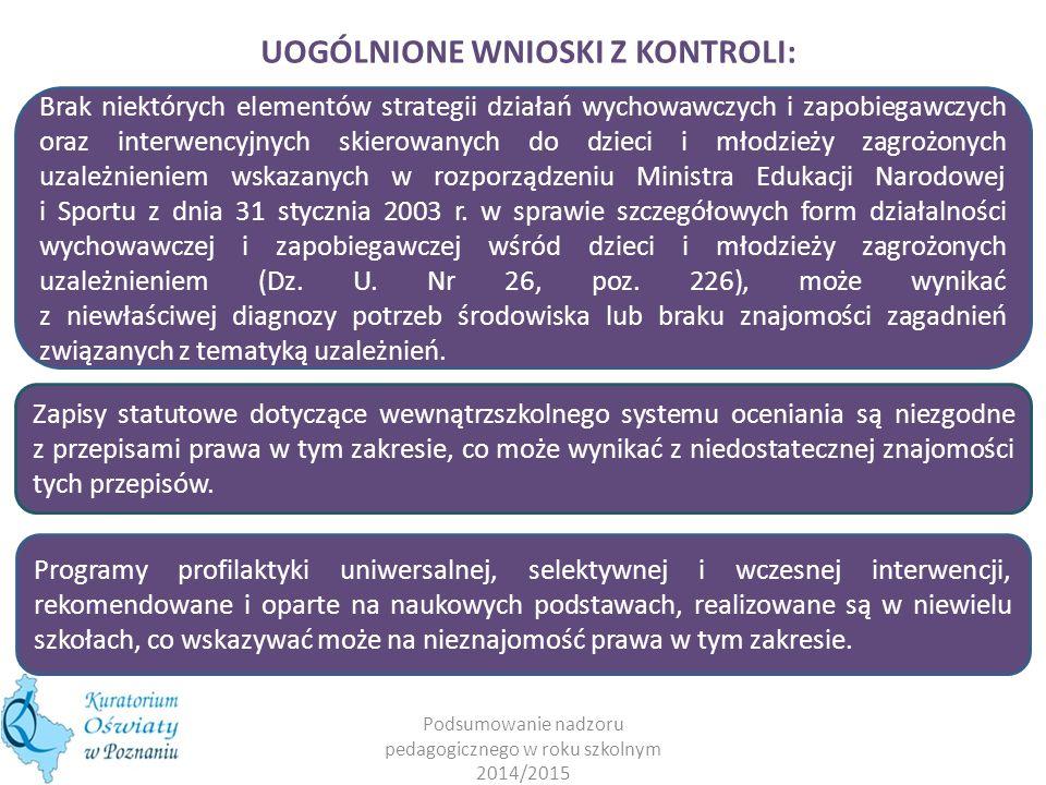 UOGÓLNIONE WNIOSKI Z KONTROLI: System wsparcia psychologicznego dla nauczycieli w formie m.in.