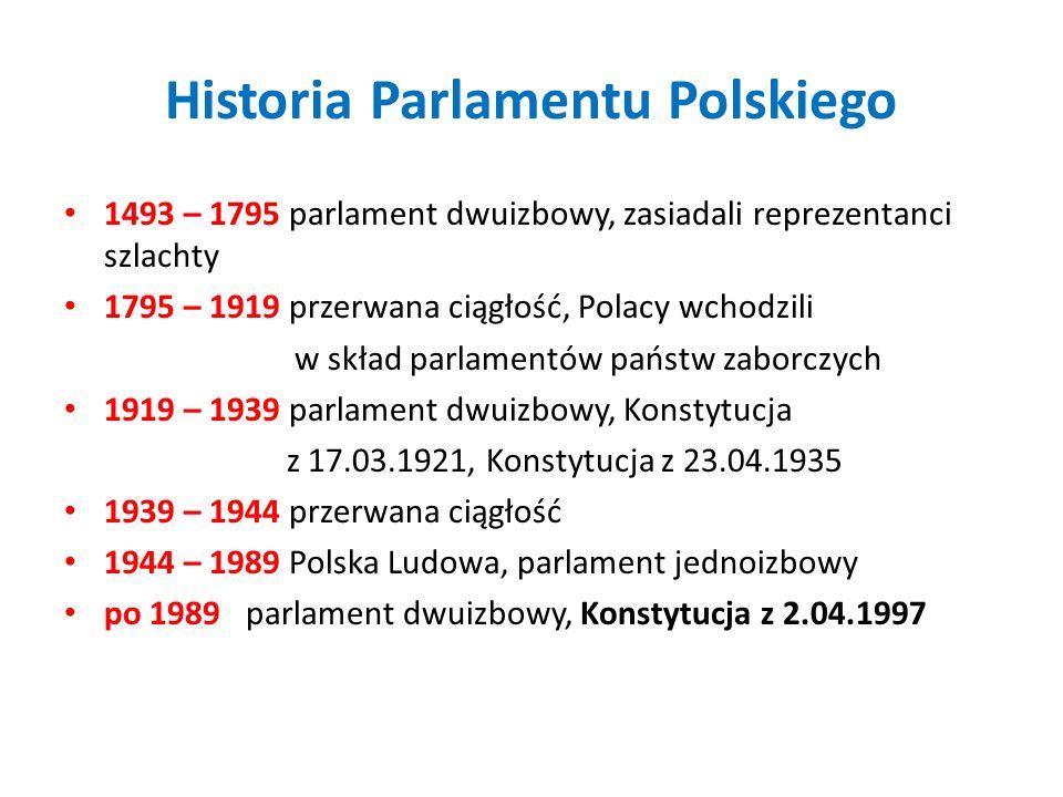 Historia Parlamentu Polskiego 1493 – 1795 parlament dwuizbowy, zasiadali reprezentanci szlachty 1795 – 1919 przerwana ciągłość, Polacy wchodzili w skł