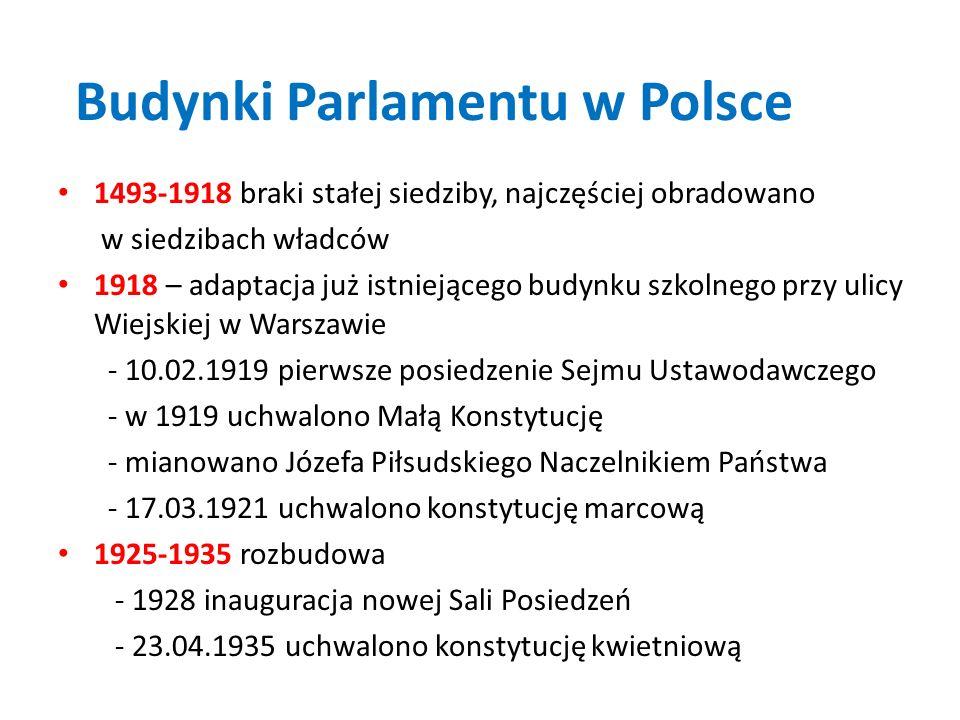 Budynki Parlamentu w Polsce 1493-1918 braki stałej siedziby, najczęściej obradowano w siedzibach władców 1918 – adaptacja już istniejącego budynku szk