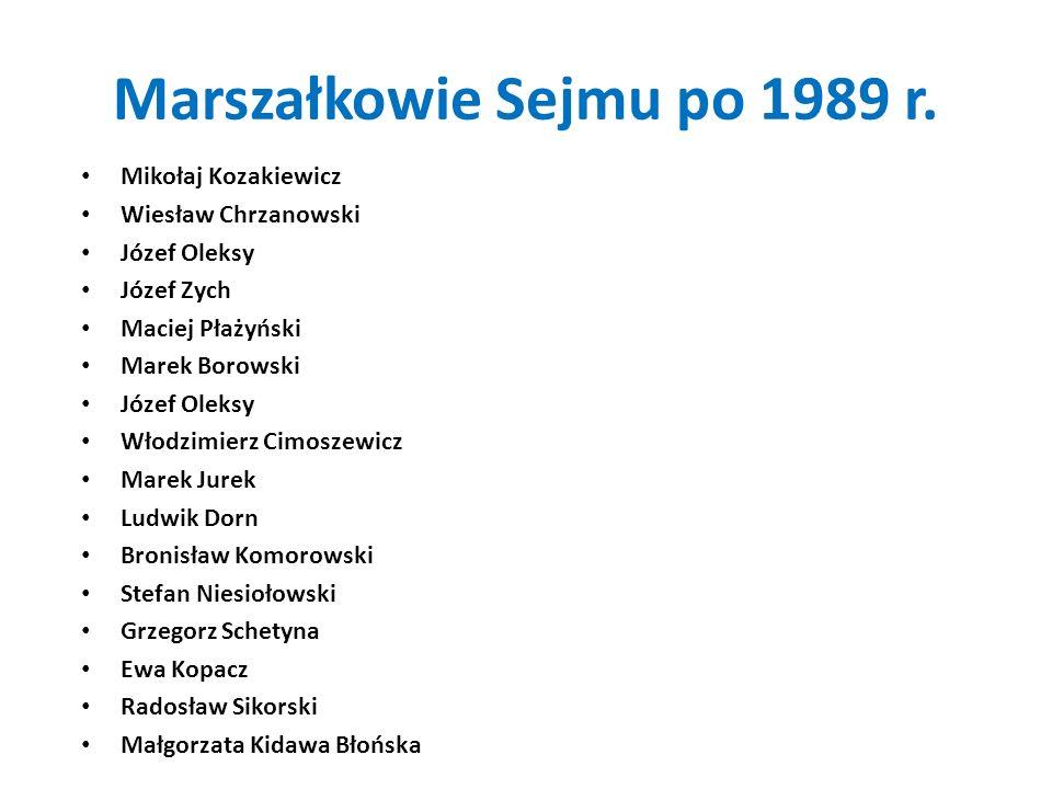 Marszałkowie Sejmu po 1989 r. Mikołaj Kozakiewicz Wiesław Chrzanowski Józef Oleksy Józef Zych Maciej Płażyński Marek Borowski Józef Oleksy Włodzimierz