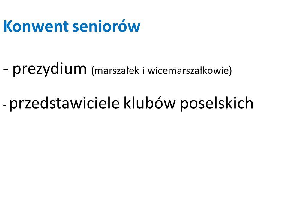 Konwent seniorów - prezydium (marszałek i wicemarszałkowie) - przedstawiciele klubów poselskich