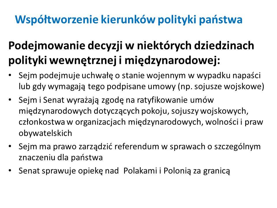 Współtworzenie kierunków polityki państwa Podejmowanie decyzji w niektórych dziedzinach polityki wewnętrznej i międzynarodowej: Sejm podejmuje uchwałę