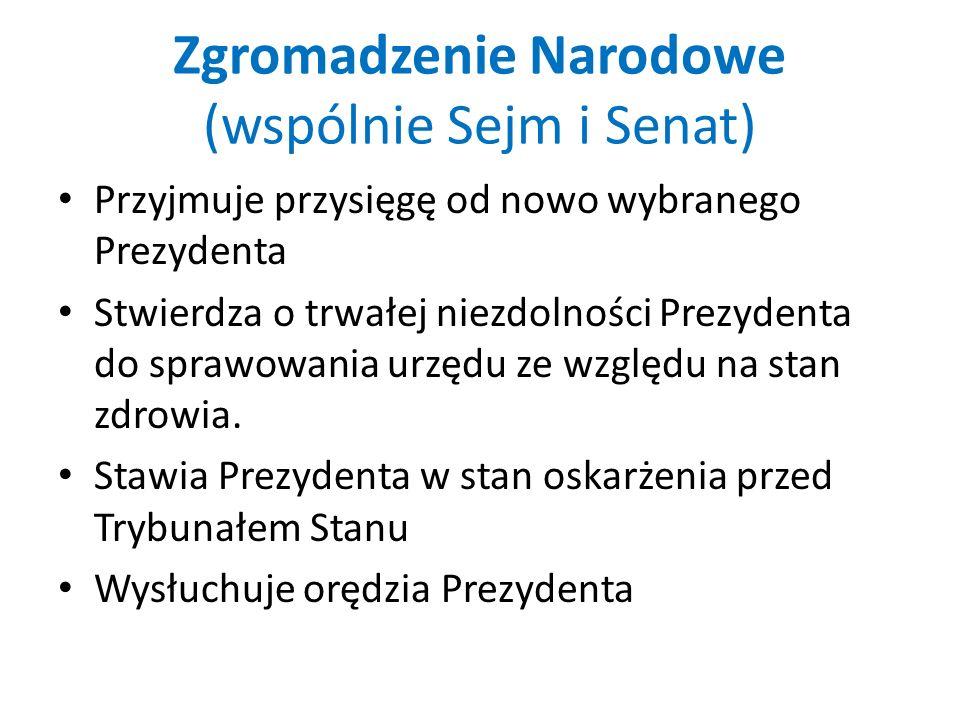 Zgromadzenie Narodowe (wspólnie Sejm i Senat) Przyjmuje przysięgę od nowo wybranego Prezydenta Stwierdza o trwałej niezdolności Prezydenta do sprawowa