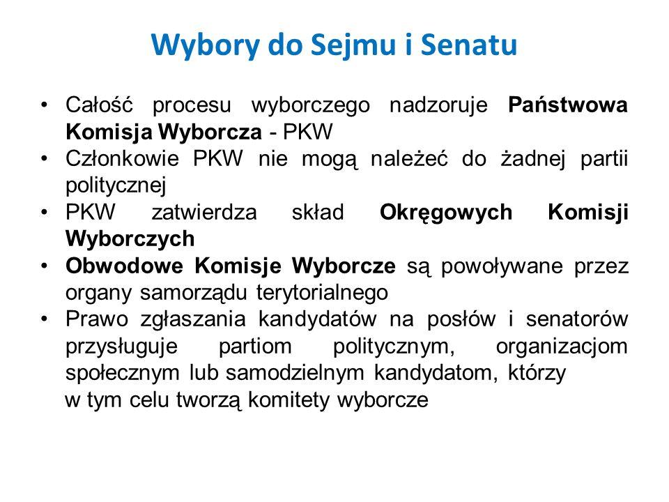 Wybory do Sejmu i Senatu Całość procesu wyborczego nadzoruje Państwowa Komisja Wyborcza - PKW Członkowie PKW nie mogą należeć do żadnej partii polityc