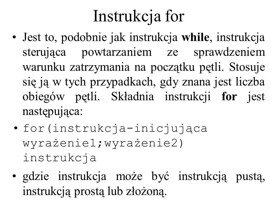 Instrukcja for Jest to, podobnie jak instrukcja while, instrukcja sterująca powtarzaniem ze sprawdzeniem warunku zatrzymania na początku pętli. Stosuj