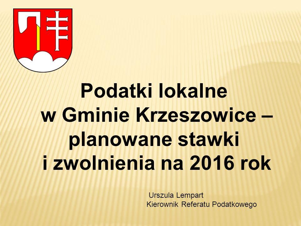 Podatki lokalne w Gminie Krzeszowice – planowane stawki i zwolnienia na 2016 rok Urszula Lempart Kierownik Referatu Podatkowego