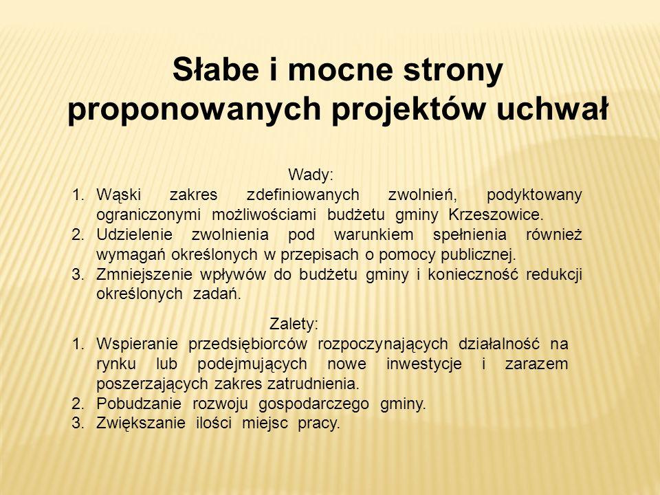 Główne założenia uchwały w sprawie zwolnień z podatku od nieruchomości w ramach pomocy de minimis dla przedsiębiorców rozpoczynających prowadzenie działalności gospodarczej lub podejmujących po raz pierwszy prowadzenie działalności gospodarczej na terenie gminy Krzeszowice 1.Objęcie zwolnieniem mikroprzedsiębiorców lub małych przedsiębiorców, będących podatnikami podatku od nieruchomości, którzy po 1 stycznia 2016r.