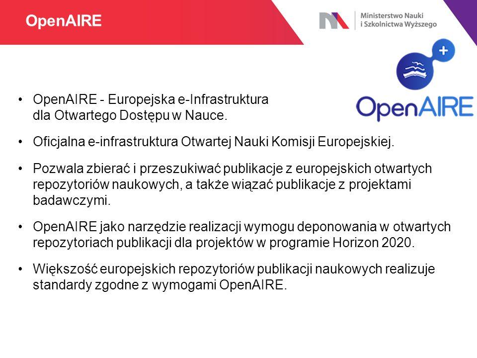 OpenAIRE - Europejska e-Infrastruktura dla Otwartego Dostępu w Nauce.