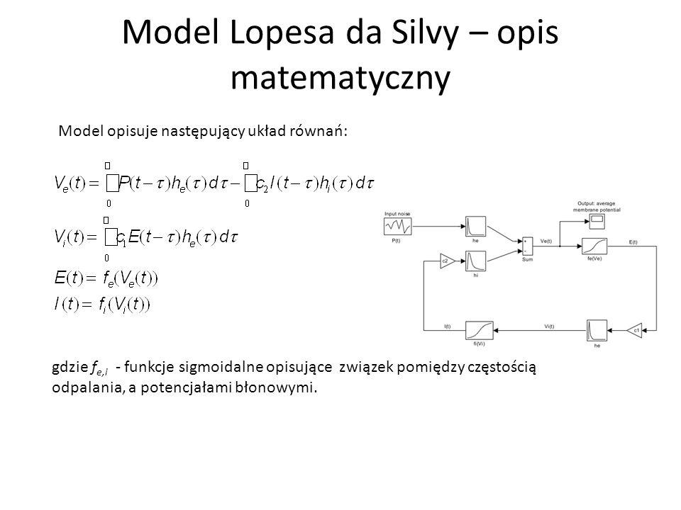 Model Lopesa da Silvy – opis matematyczny Model opisuje następujący układ równań: gdzie f e,i - funkcje sigmoidalne opisujące związek pomiędzy częstością odpalania, a potencjałami błonowymi.