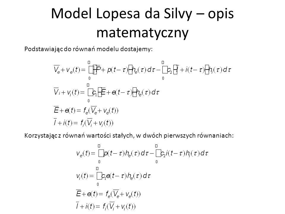 Model Lopesa da Silvy – opis matematyczny Rozwińmy funkcje f w szereg Taylora i zachowajmy jedynie pierwsze dwa wyrazy, co oznacza przyblizenie liniowe: Mozemy zapisać: Gdzie q e jest nachyleniem funkcji f e (V) w punkcie 'pracy' i podobnie dla q i.