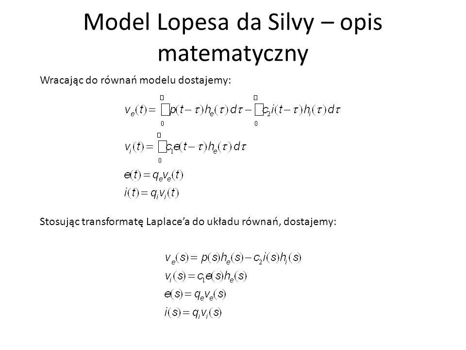 Model Lopesa da Silvy – opis matematyczny Postawiajac (3) i (4) równanie do (1) i (2) dostajemy: A następnie wyznaczamy v e (s): Ostatecznie: