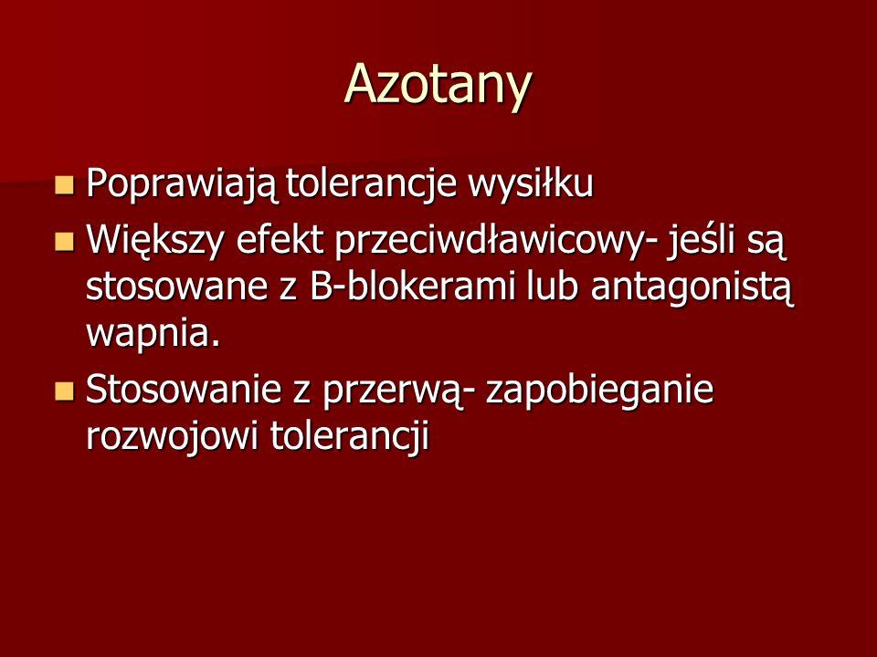 Azotany Poprawiają tolerancje wysiłku Poprawiają tolerancje wysiłku Większy efekt przeciwdławicowy- jeśli są stosowane z B-blokerami lub antagonistą w