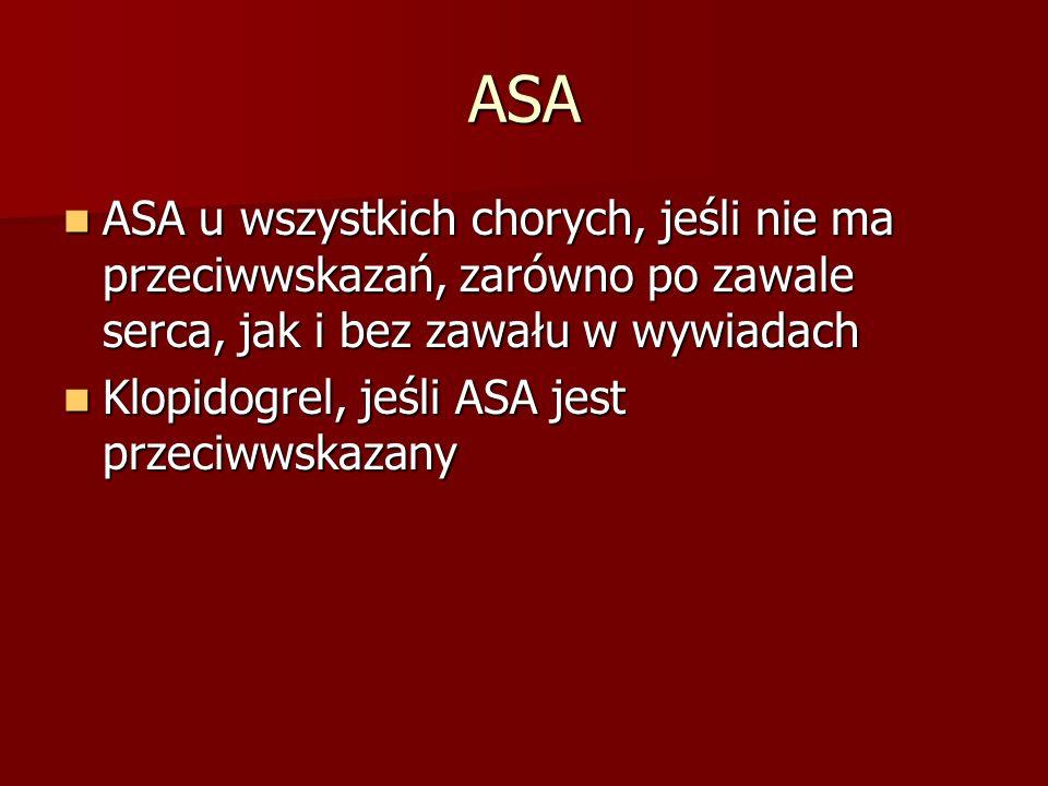 ASA ASA u wszystkich chorych, jeśli nie ma przeciwwskazań, zarówno po zawale serca, jak i bez zawału w wywiadach ASA u wszystkich chorych, jeśli nie m