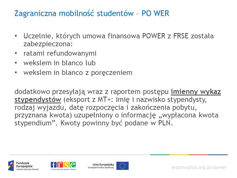 erasmusplus.org.pl/power Zagraniczna mobilność studentów – PO WER Uczelnie, których umowa finansowa POWER z FRSE została zabezpieczona: ratami refundo