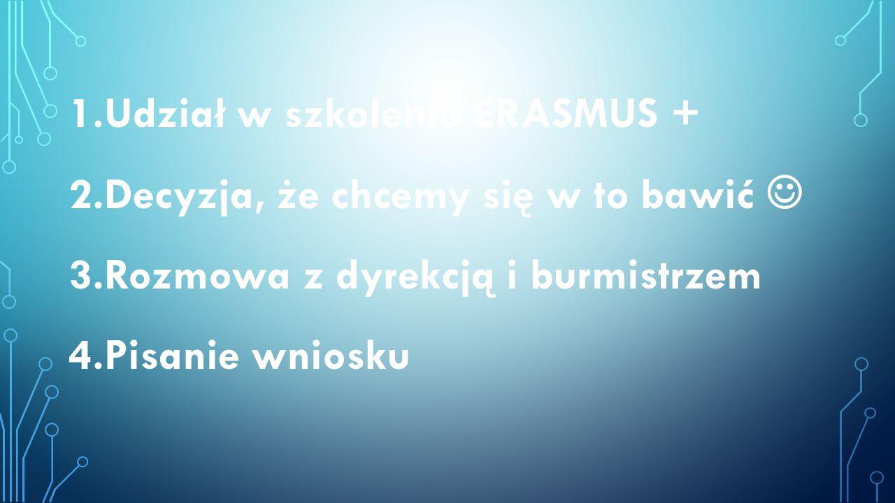 1.Udział w szkoleniu ERASMUS + 2.Decyzja, że chcemy się w to bawić 3.Rozmowa z dyrekcją i burmistrzem 4.Pisanie wniosku