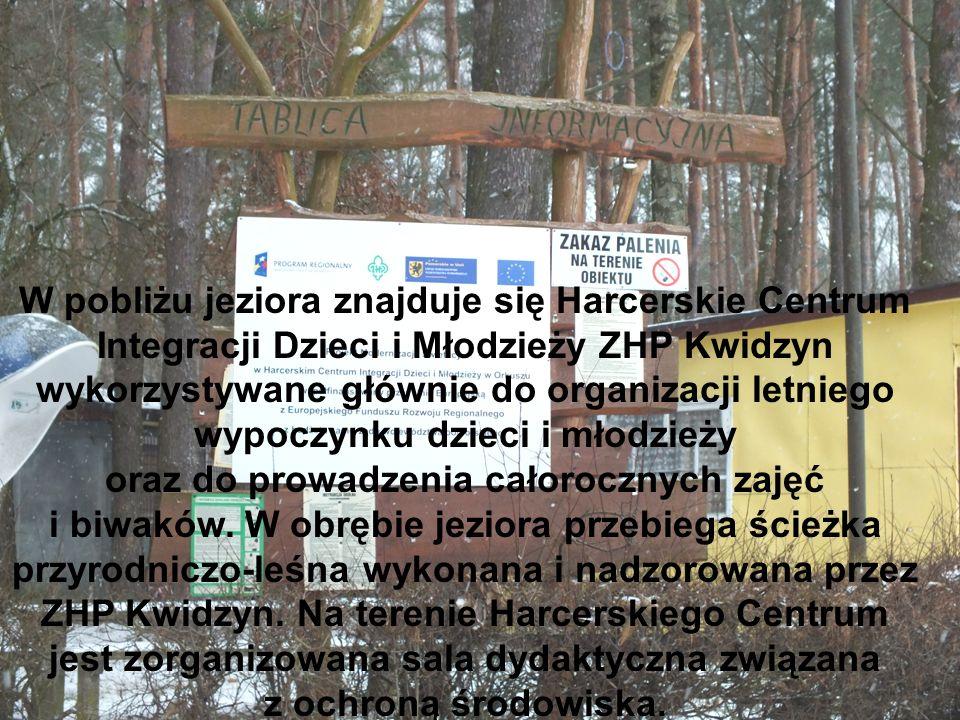 W pobliżu jeziora znajduje się Harcerskie Centrum Integracji Dzieci i Młodzieży ZHP Kwidzyn wykorzystywane głównie do organizacji letniego wypoczynku