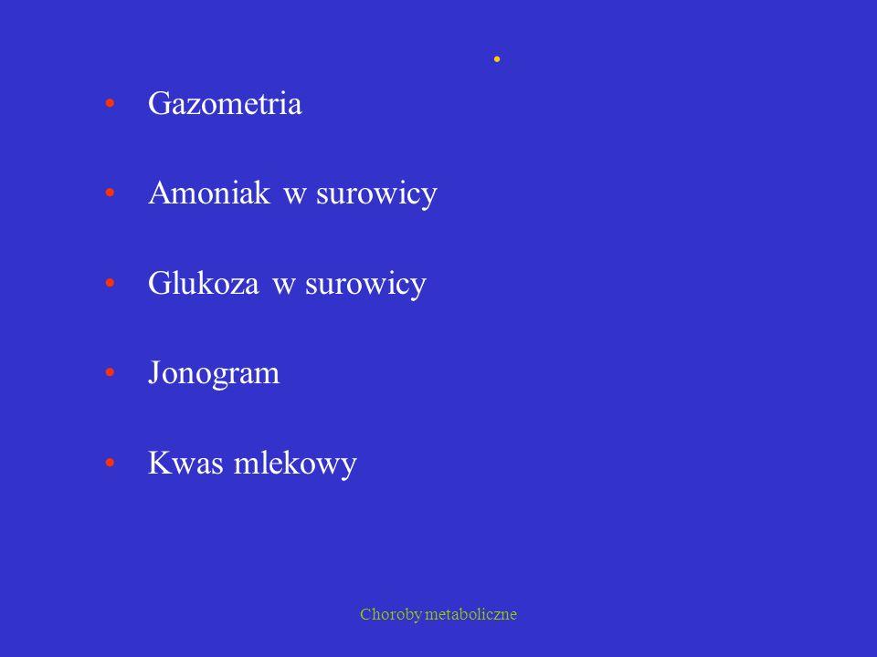 Choroby metaboliczne. Gazometria Amoniak w surowicy Glukoza w surowicy Jonogram Kwas mlekowy