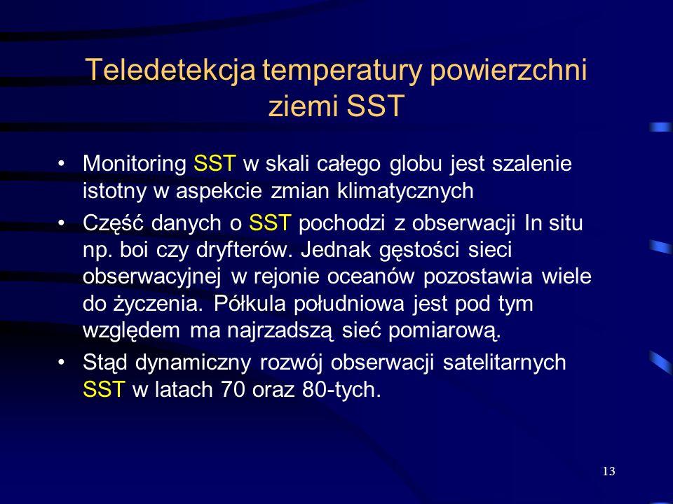 13 Teledetekcja temperatury powierzchni ziemi SST Monitoring SST w skali całego globu jest szalenie istotny w aspekcie zmian klimatycznych Część danyc