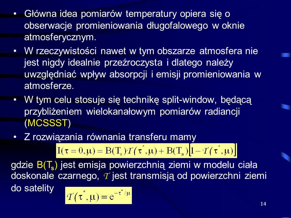 14 Główna idea pomiarów temperatury opiera się o obserwacje promieniowania długofalowego w oknie atmosferycznym. W rzeczywistości nawet w tym obszarze