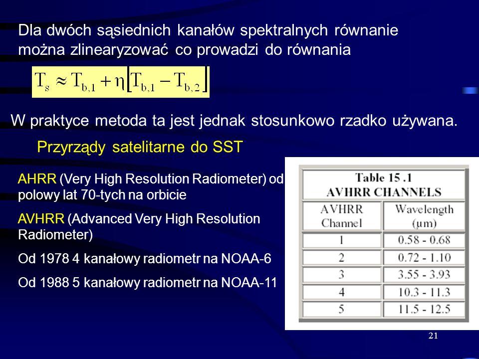 21 Dla dwóch sąsiednich kanałów spektralnych równanie można zlinearyzować co prowadzi do równania W praktyce metoda ta jest jednak stosunkowo rzadko u
