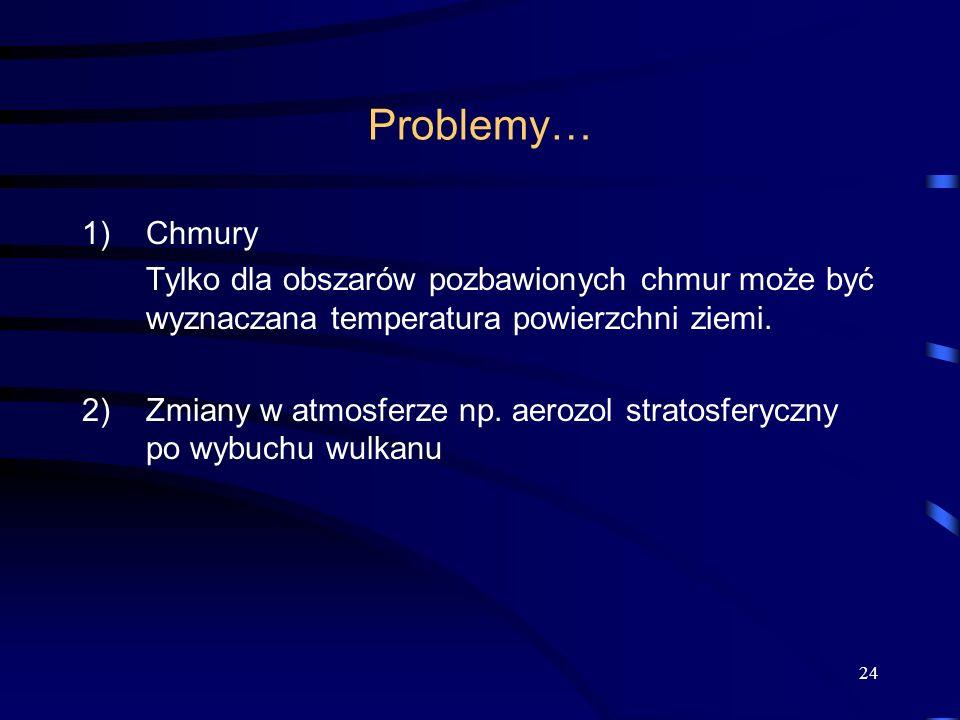 24 Problemy… 1)Chmury Tylko dla obszarów pozbawionych chmur może być wyznaczana temperatura powierzchni ziemi. 2) Zmiany w atmosferze np. aerozol stra