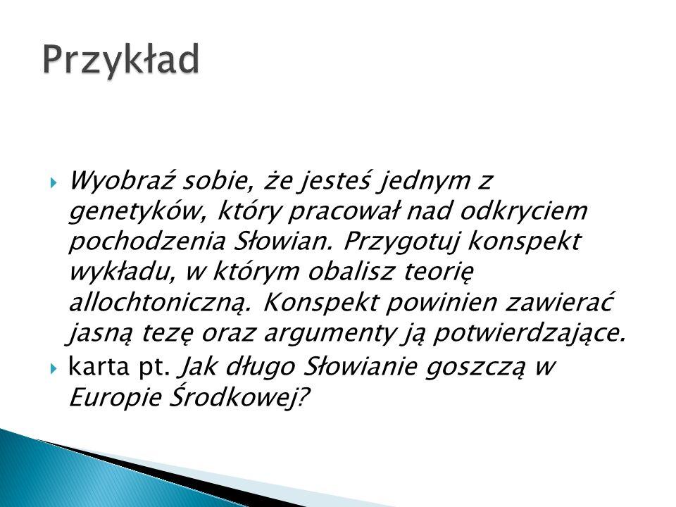  Wyobraź sobie, że jesteś jednym z genetyków, który pracował nad odkryciem pochodzenia Słowian. Przygotuj konspekt wykładu, w którym obalisz teorię a