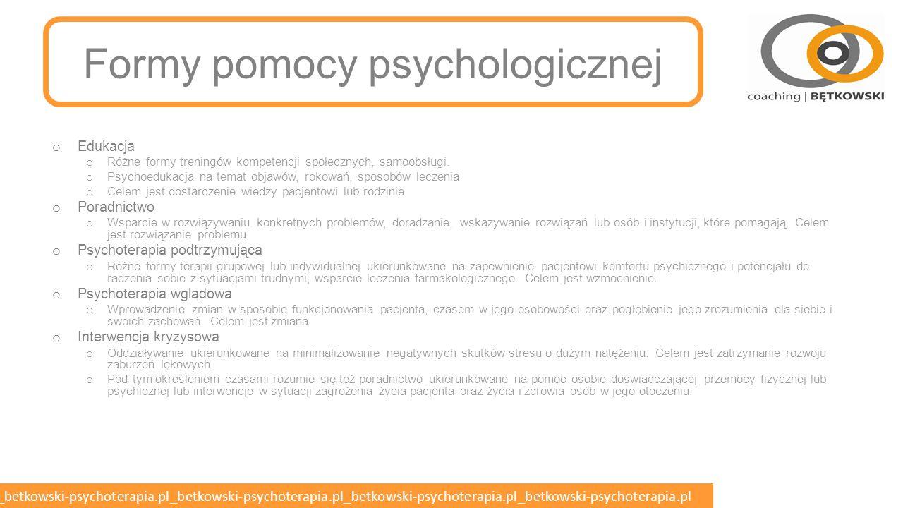 betkowski-psychoterapia.pl_betkowski-psychoterapia.pl_betkowski-psychoterapia.pl_betkowski-psychoterapia.pl_betkowski-psychoterapia.pl Warunki stosowania przymusu o Zgodnie z ustawą przymus bezpośredni wobec pacjentów z zaburzeniami psychicznymi można stosować tylko wtedy, gdy osoby te: o dopuszczają się zamachu przeciwko życiu lub zdrowiu własnemu, o dopuszczają się zamachu przeciwko życiu lub zdrowiu innej osoby, o dopuszczają się zamachu przeciwko bezpieczeństwu powszechnemu, o w sposób gwałtowny niszczą lub uszkadzają przedmioty znajdujące się w ich otoczeniu, o zostały skierowane do szpitala psychiatrycznego i zachodzi konieczność ich przymusowego doprowadzenia.