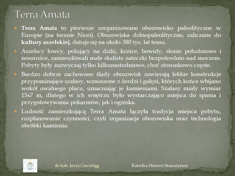 Terra Amata to pierwsze zorganizowane obozowisko paleolityczne w Europie (na terenie Nicei). Obozowiska dolnopaleolityczne, zaliczane do kultury aszel