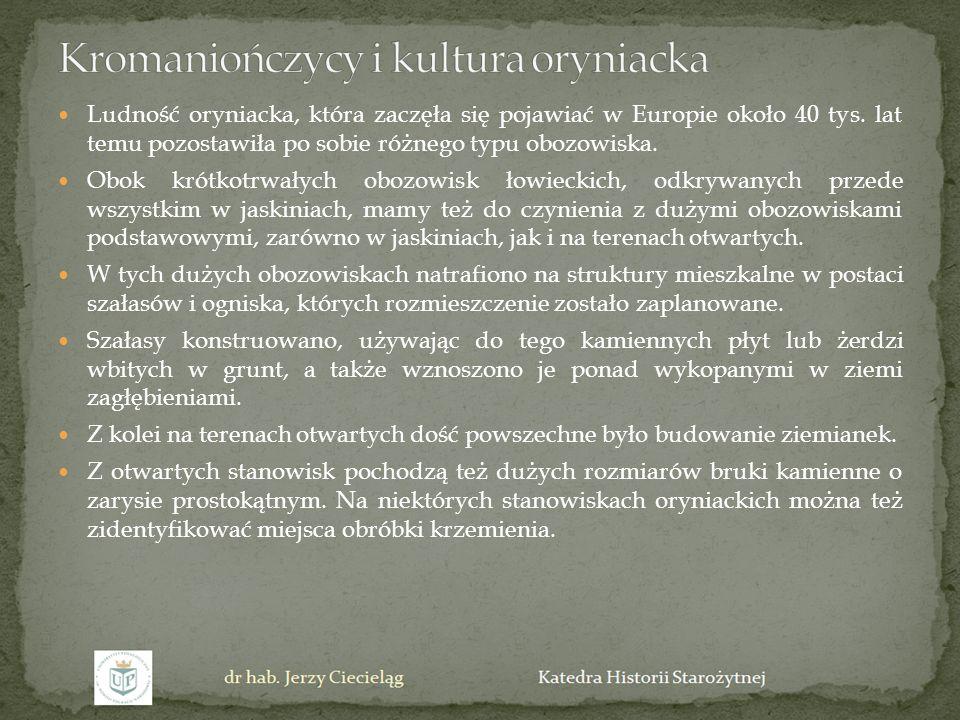 Ludność oryniacka, która zaczęła się pojawiać w Europie około 40 tys. lat temu pozostawiła po sobie różnego typu obozowiska. Obok krótkotrwałych obozo