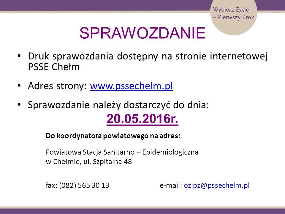 SPRAWOZDANIE Druk sprawozdania dostępny na stronie internetowej PSSE Chełm Adres strony: www.pssechelm.plwww.pssechelm.pl Sprawozdanie należy dostarcz