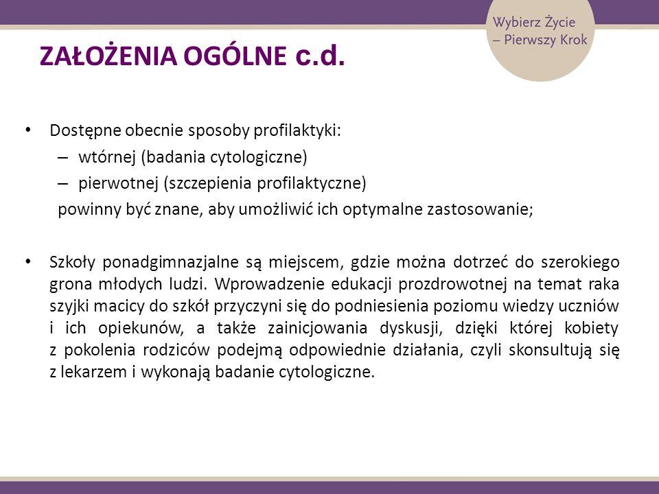 ZAŁOŻENIA OGÓLNE c.d. Dostępne obecnie sposoby profilaktyki: – wtórnej (badania cytologiczne) – pierwotnej (szczepienia profilaktyczne) powinny być zn