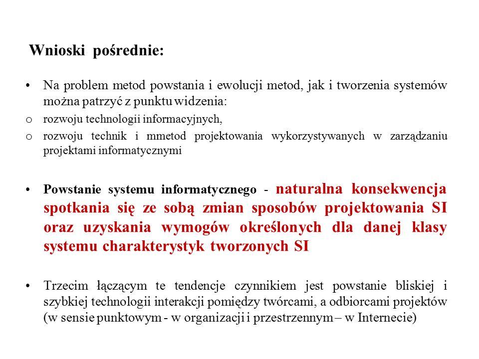 Wnioski pośrednie: Na problem metod powstania i ewolucji metod, jak i tworzenia systemów można patrzyć z punktu widzenia: o rozwoju technologii informacyjnych, o rozwoju technik i mmetod projektowania wykorzystywanych w zarządzaniu projektami informatycznymi Powstanie systemu informatycznego - naturalna konsekwencja spotkania się ze sobą zmian sposobów projektowania SI oraz uzyskania wymogów określonych dla danej klasy systemu charakterystyk tworzonych SI Trzecim łączącym te tendencje czynnikiem jest powstanie bliskiej i szybkiej technologii interakcji pomiędzy twórcami, a odbiorcami projektów (w sensie punktowym - w organizacji i przestrzennym – w Internecie)