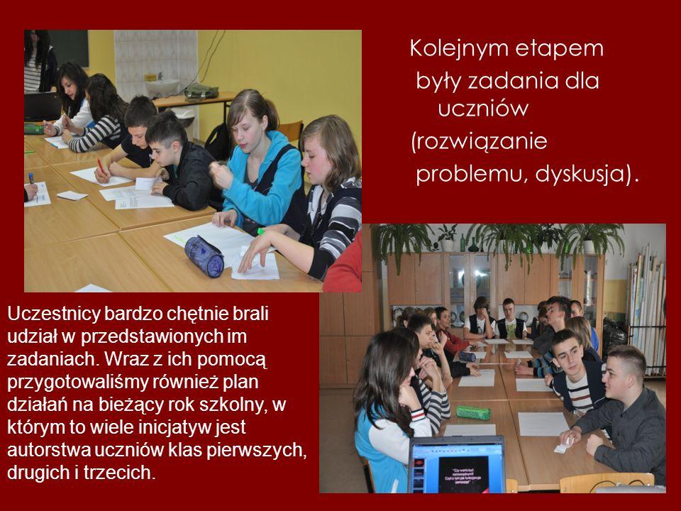 Kolejnym etapem były zadania dla uczniów (rozwiązanie problemu, dyskusja).