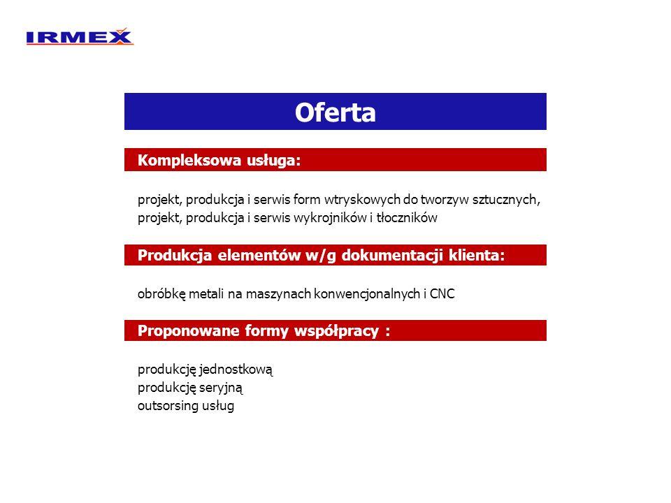 Oferta Kompleksowa usługa: projekt, produkcja i serwis form wtryskowych do tworzyw sztucznych, projekt, produkcja i serwis wykrojników i tłoczników Pr
