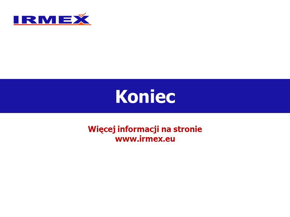Koniec Więcej informacji na stronie www.irmex.eu
