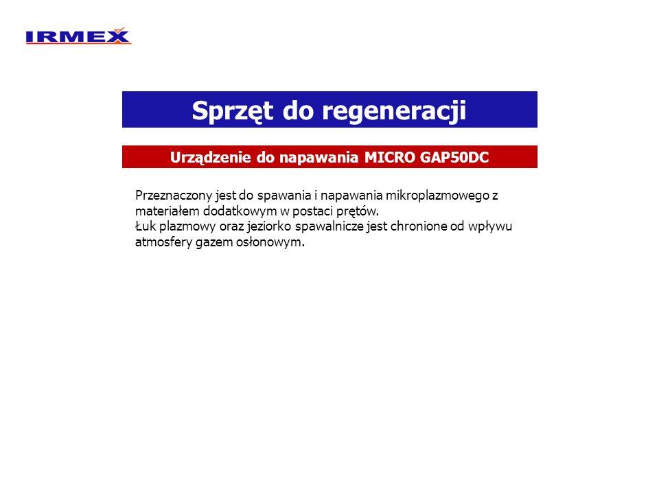 Sprzęt do regeneracji Urządzenie do napawania MICRO GAP50DC Przeznaczony jest do spawania i napawania mikroplazmowego z materiałem dodatkowym w postac