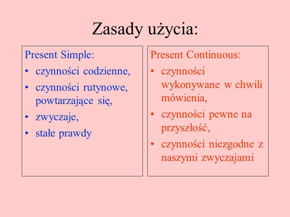 Struktura zdania: Present Simple: + S + V (3 os.l.